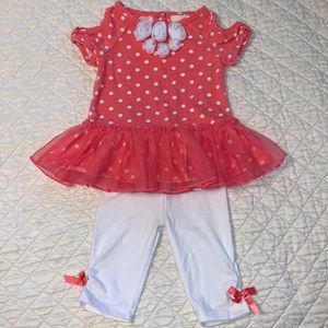 Little Lass Orange and White Polka-dot Outfit